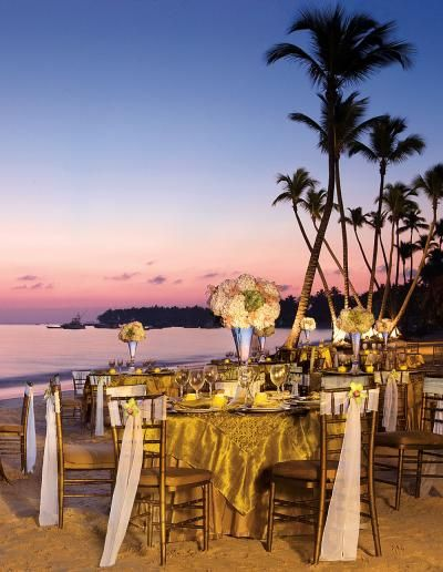 Dreams Palm Beach Punta Cana wedding reception tablescape