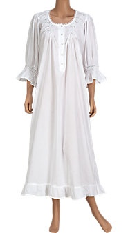 Romantic Rosebud Cotton Nightgown in White by Vermont Country Store **cg** always a lady