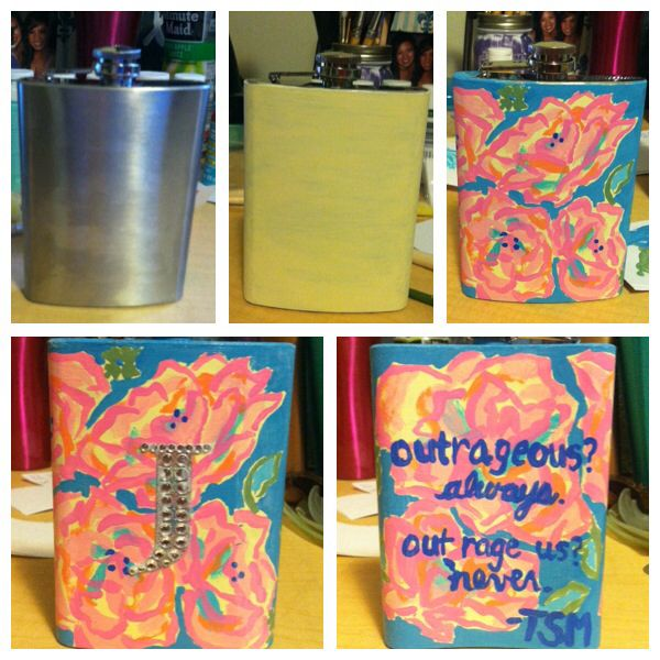 DIY Hand painted Lilly print flask with TSM quote and bedazzled :)