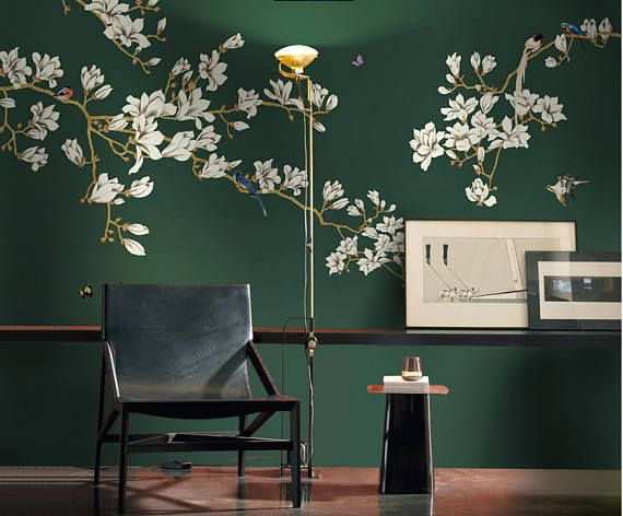 Chinoiserie Branch & Birds Wallpaper Self-Adhesive Wallpaper Removable Wall Mural Dark Green Wall Decal