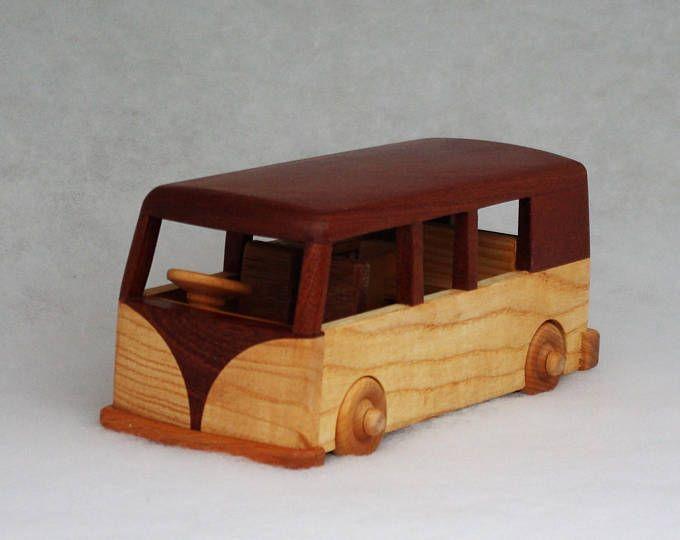Personalised Wooden Toy Traditional VW Camper Van Model Car Vehicle Registration Plate