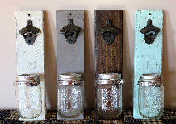 This listing is for a wall mounted bottle opener. The rustic bottle opener looks great in any entertainment space and makes for a great gift. It is both functional and beautiful. - Measurements: 14 tall x 3 1/2 wide x 4 deep with jar - The cast iron bottle opener is mounted to the wood. - The wood has been sanded down, stained, or stained, painted and sanded again to give it a rustic/distressed look. - The mason jar used is a 16oz pint size Ball mason jar attached to the wood using ...