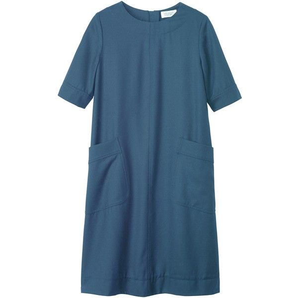 Toast Washed Wool Dress ($225) ❤ liked on Polyvore featuring dresses, chambray, elbow sleeve dress, blue knee length dress, blue shift dress, half sleeve dress and mini dress