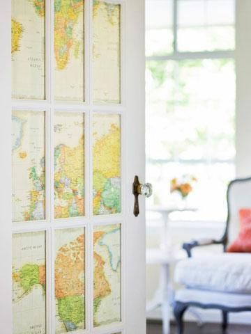 Destination doorway: Adding maps to the back of this French door creates visual interest as well as added privacy. Don't have a French door? Cover a basic cabinet door with maps for a quick facelift. More ideas for decorating with maps: http://www.midwestliving.com/homes/decorating-ideas/decorating-with-maps/page/6/0