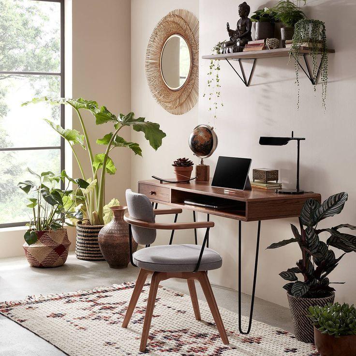 Narrow Hairpin Leg Desk Dark Oak In 2020 Home Office Chairs Cheap Office Furniture Home Office Design