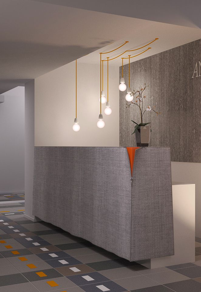Lighting over meeting table- particularly like the longer cords gathered and hung at a different height