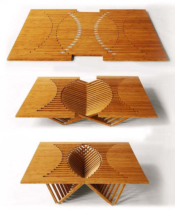 This is a really interesting design. The lines intersect when this is folded creating the legs and support for this wonderful rising table. Also, it adds a beautiful geometric style to it.