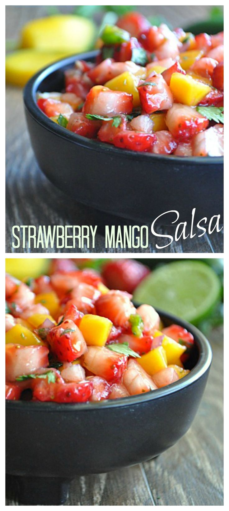 Strawberry Mango Salsa!  Perfect blend of sweet and spice.  Would be amazing on fish or shrimp tacos! Recipe at http://www.houseofyumm.com