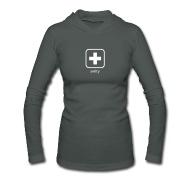 Langarmshirts: Frauen Langarm-Kapuzenshirt von American Apparel mit Schweizerkreuz Icon Weiss