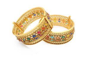 Multi Colour Ruby Stone Indian Kangan Bangles