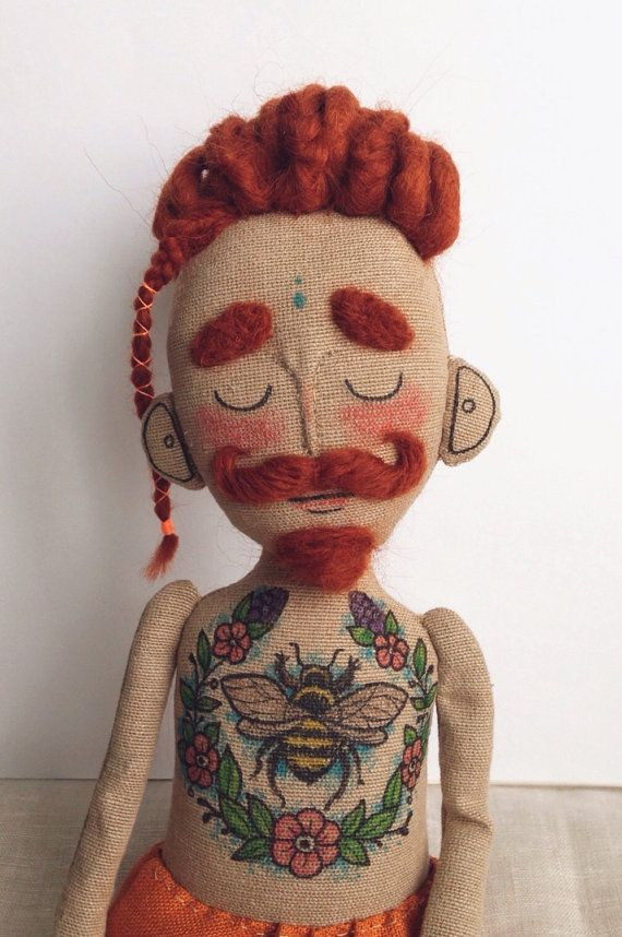 Cloth doll Baby Beardy with tattoos mustache and by Tattoysclub