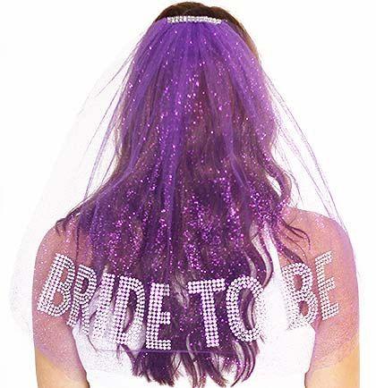 Rhinestone Gem Bride To Be Sparkle Tulle Veil - Double Layer,  Bachelorette Party Veil, Purple Bachelorette Veil