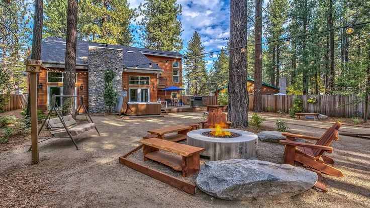 Cozy 'round the fire in this South Lake Tahoe cabin available on HomeAway!