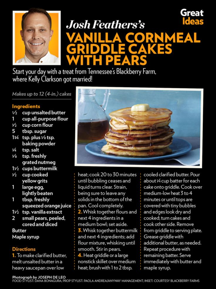 Josh Feather's Vanilla Cornmeal Griddle Cakes with Pears | January 20 ...