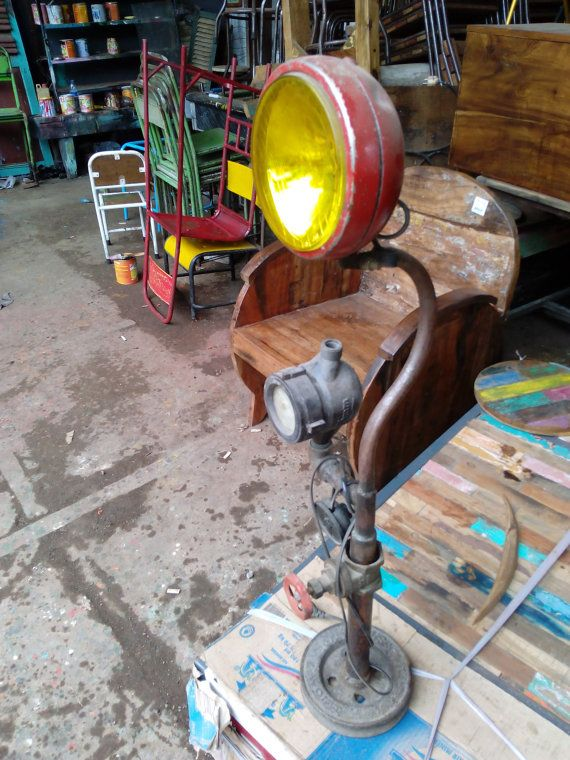 Vintage industrial lamp.  This lamp is handmade from recycle old object founded in flea market and antiquity store.  The light spot is yellow