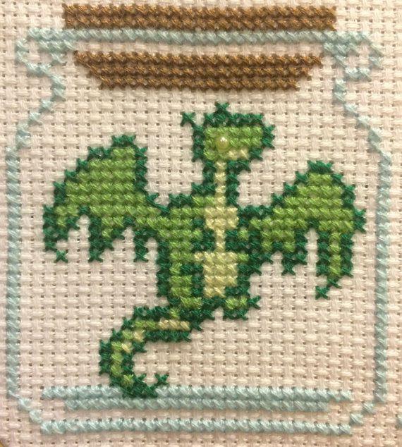 Padrão de ponto cruz de jarra de dragão