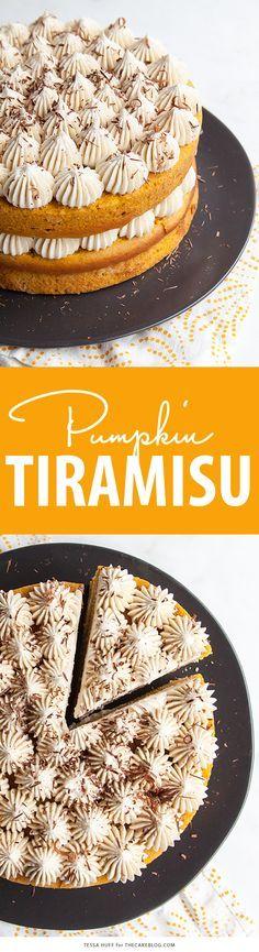 Calabaza Tiramisú Pastel de Acción de Gracias el postre.  Pastel de calabaza empapado de licor de café, con capas de helar mascarpone y virutas de chocolate |  Tessa Huff para TheCakeBlog.com