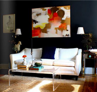 dark wall + color in the art: Wall Art, Bright Art, Coffee Tables, Living Rooms, Artworks, Wall Color, House Of Fifty, White Couch, Dark Wall