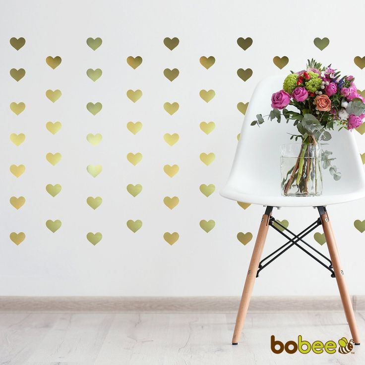 It doesnt have to be valentines day to use these adorable heart wall decals create a beautiful home decoration with the bobee gold heart wall decals made