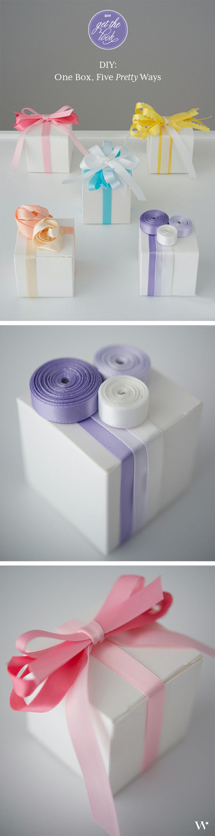 1 Box: 5 Pretty Ways. See the full tutorials to transform your wedding favors with DIY details here: http://blog.weddingstar.com/diy-wedding-wednesday-white-box-satin-ribbon-endless-possibilities/