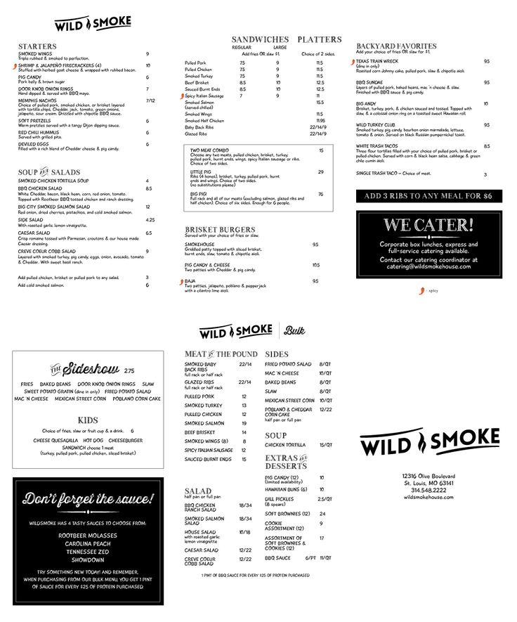 Our to-go menu for WildSmoke Smokehouse & Bar in St. Louis, MO! #WildSmoke #smokehouse #bar #StLouis #STL #SaintLouis #BBQ #CreveCoeur #togo #takeout