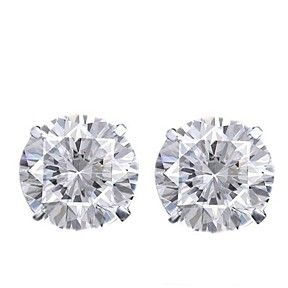 3-1/4 ct Round Cut D/VVS1 18K White Gold Over Solitaire Stud Earrings $999 by JewelryHub on Opensky