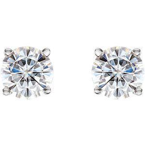 14K White 6mm Round Forever One™ Moissanite Earrings