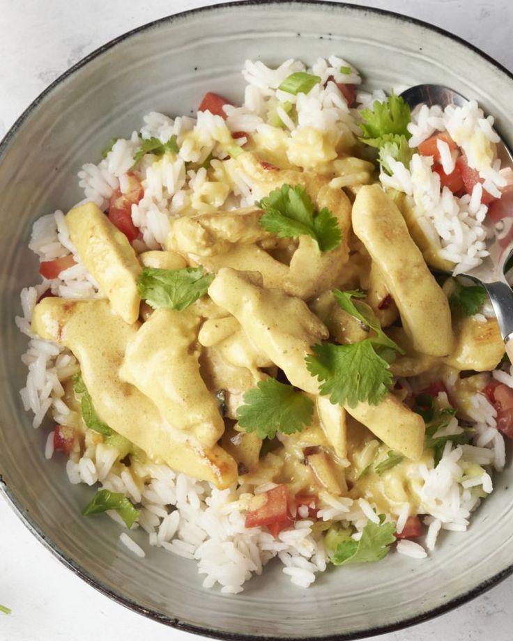 Snelle curry met kip en rijst