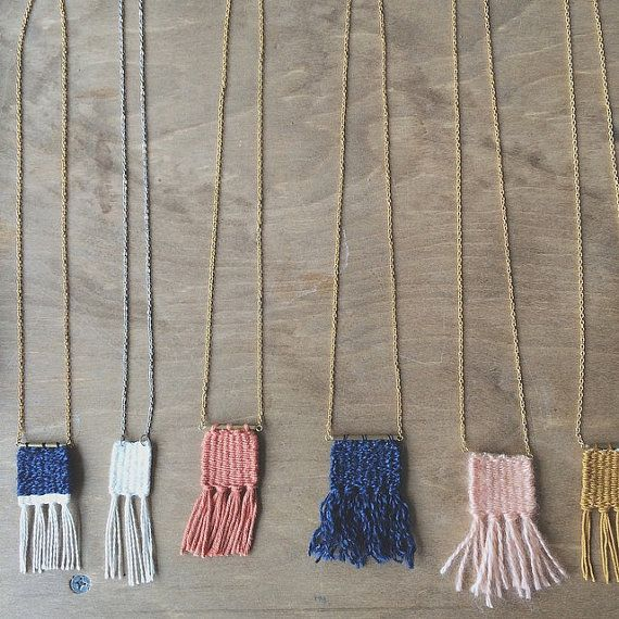 Woven Pendant Necklace / Weaving Fiber Art Jewelry / Art to Wear / Made to Order FOR SALE $28 on Etsy! etsy.com/shop/wabisabitextileco