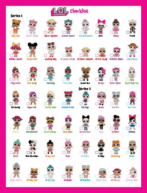 LOL Surprise Doll Checklist 5pages