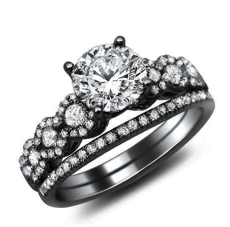 1.26ct Round Diamond Engagement Ring Bridal Set 18k #Black #Gold with a .50ct Center Diamond and .76ct of Surrounding Diamonds $2,395.00