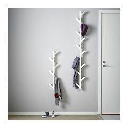 IKEA - TJUSIG, Aufhänger, weiß, , Verwandelt eine freie Wandfläche in eine praktische Aufbewahrung für Jacken, Taschen usw.Die Wandfläche wird noch besser genutzt, wenn man 2 Aufhänger übereinander montiert.Massivholz ist ein strapazierfähiges Naturmaterial.