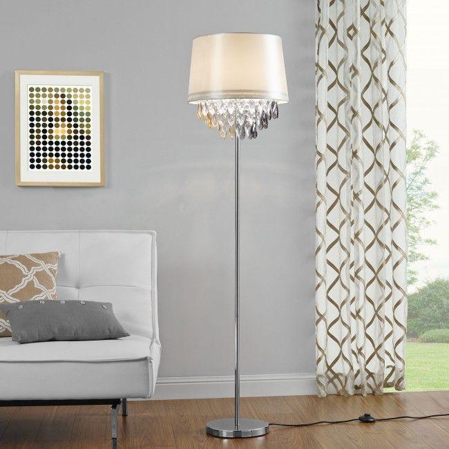 [lux.pro] Lámpara de pie - E27 / 60 W / 230 V - blanco-cromo (165cm - 40cm) - 51,80 €