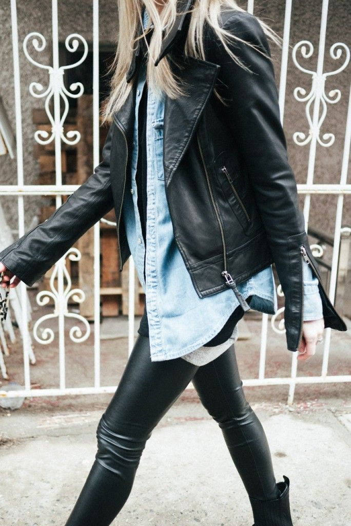 figtny.com   outfit • 14   black leather and denim layers