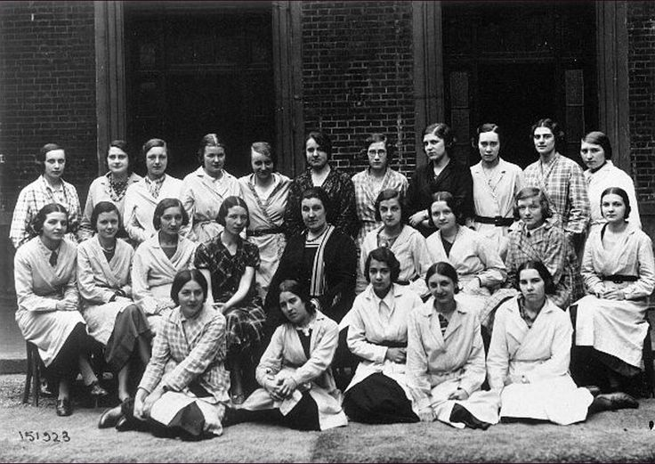 Simone de Beauvoir (forth from left in the second row) with her students and fellow teachers at lycée Jeanne D'Arc, Rouen, 1933. [Olga Kosakievicz is first from left in the bottom row.]