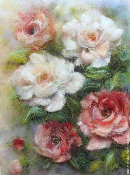 Картины цветов ручной работы. Ярмарка Мастеров - ручная работа Картина из шерсти Летние мотивы. Handmade.