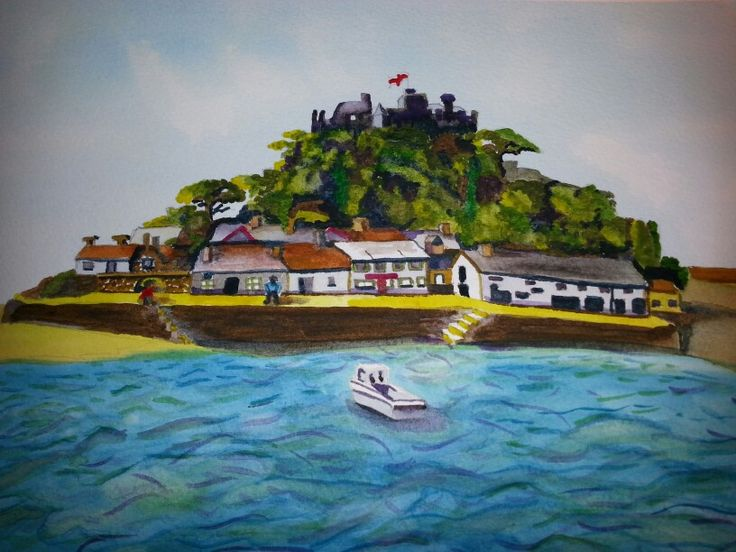 St Michaels Mount in watercolour