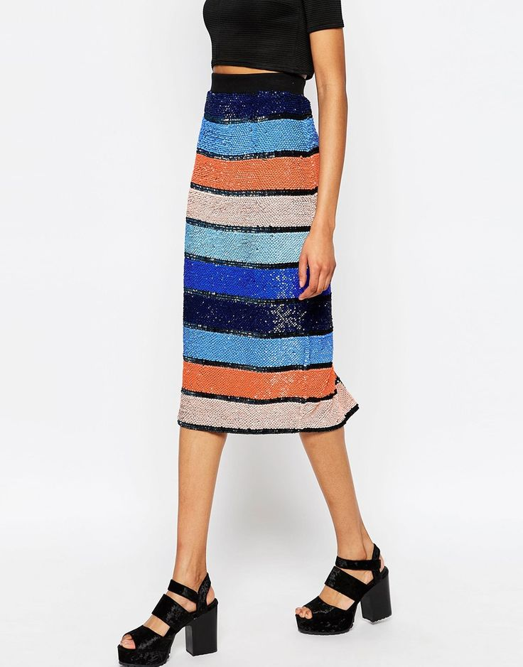 Image 4 of ASOS Midi Pencil Skirt in Allover Embellished Stripe