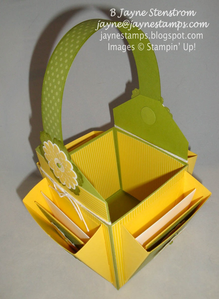 """~ ~ ~Jayne Stamps ~ ~ ~ Card Basket in Daffodil Delight and Old Olive with four coordinating 3x3"""" cards."""