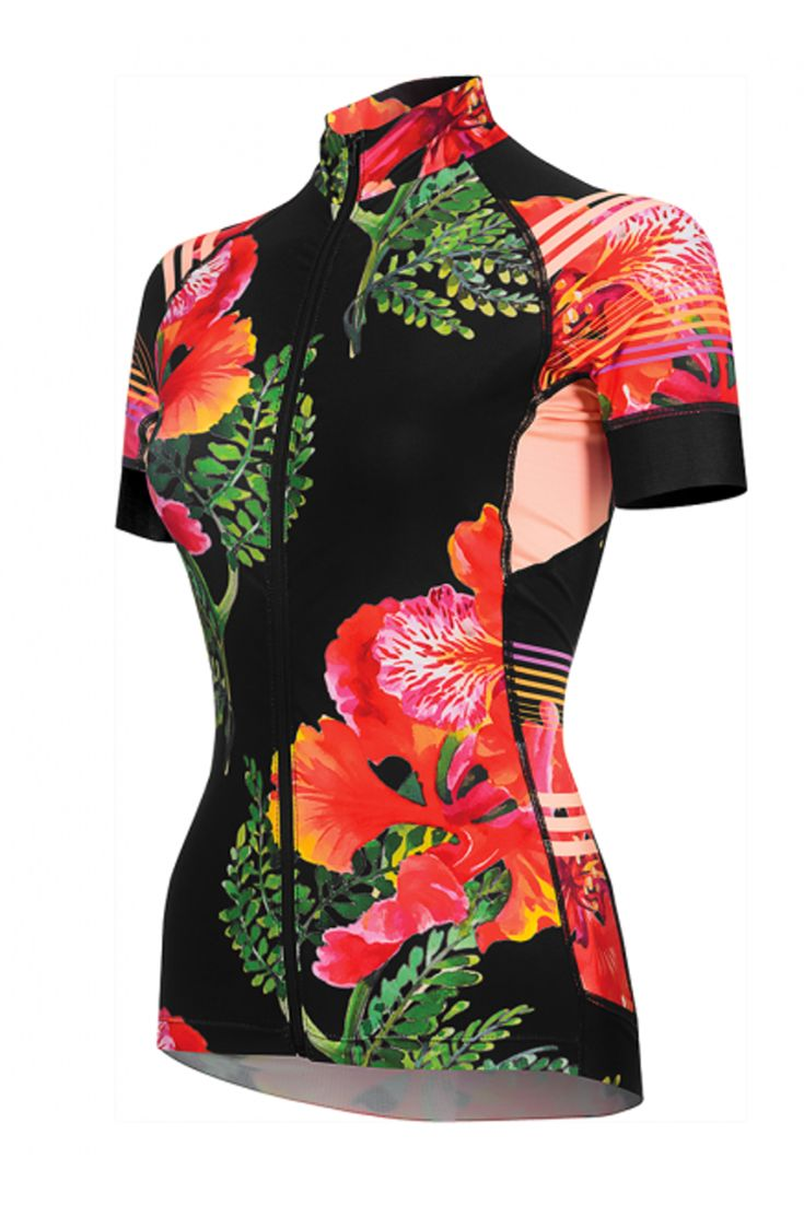 Divine Flamboyant women's cycling jersey. The best jersey for indoor or road cycling and makes the perfect kit with the matching shorts or capris!
