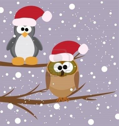 illustrazione vettoriale di un gufo e un pinguino su un albero con cappelli della santa