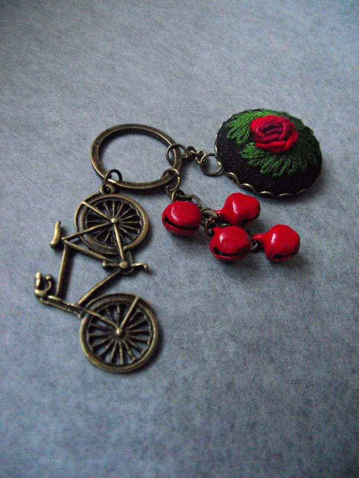 Hand embroidered charm, embroidered keychain, with bike by ZoZulkaart on Etsy