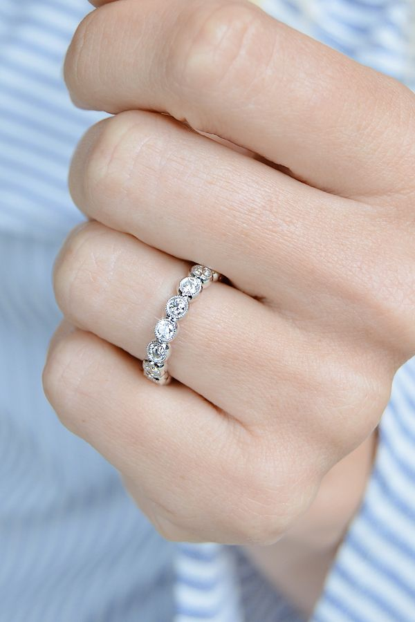 Shining Bright With This Bezel Set Diamond Eternity Anniversary Band By Ascot Diamonds Stacked Diamond Bands Wedding Anniversary Rings Wide Diamond Bands