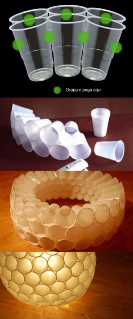 Abat jour gobelets  ReCycle cups into globe light