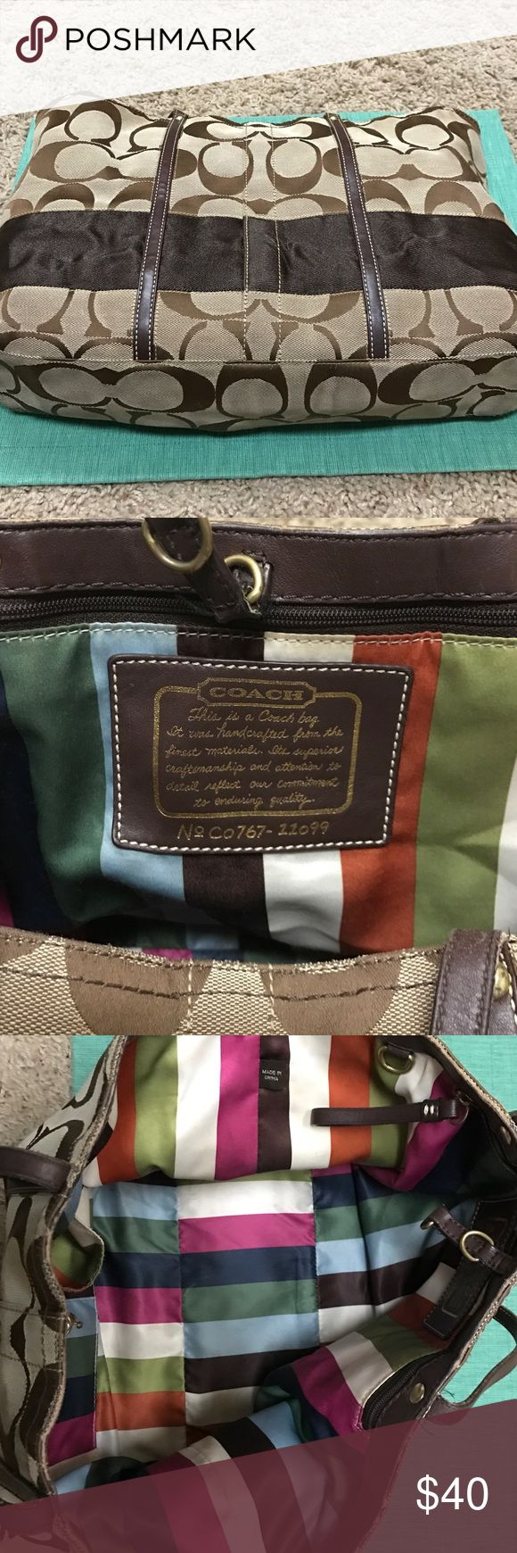 Coach Signature Stripe Purse Authentic Coach Shoulder Bag With Brown Signature C Pattern & Fun Colorful Striped Interior - Inside Features 2 Cell Phone Sized Pockets & 1 Zipper Pocket - Wear & tear: Some marks on interior & some fraying on outside corners (See pics) Comes with original Coach dustbag! Coach Bags Shoulder Bags