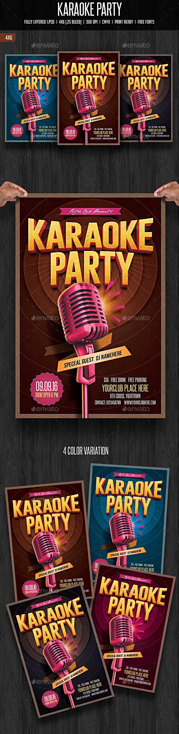 Karaoke Party Flyer Template #design Download: http://graphicriver.net/item/karaoke-party/12134243?ref=ksioks