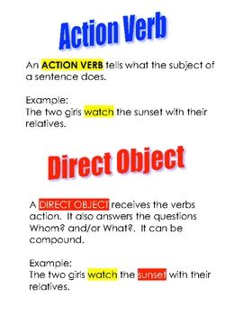 28 Action Verbs And Direct Objects Worksheets Direct