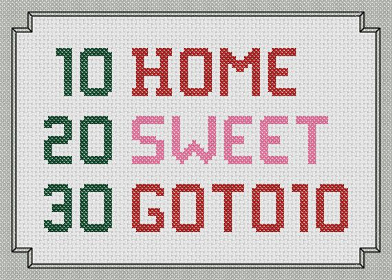 cross stitch pattern home sweet goto10 by dinosaurspaceshop