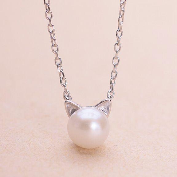 Cute Silver Kitten Pendant Necklace
