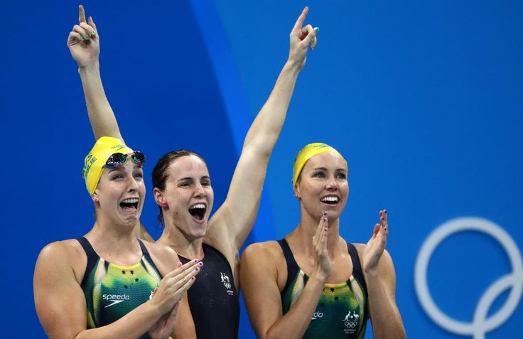Australia's Emma McKeon, Brittany Elmslie, Bronte Campbell and Cate Campbell celebrate winning the women's 4 x100m freestyle relay REUTERS/Stefan Wermuth
